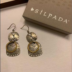 Silpada Boho sterling silver and brass earrings
